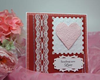Sending Love Card, Valentine Birthday Card, Anniversary Card, Happy Valentine's Day Card, Romantic Valentine, Won't You Be My Valentine