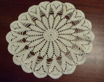 "Beautiful Round Hand Crocheted Antique White Doily,  11 3/4"" Diameter     (DD)"