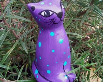 Garden plug Cat Purple, cat figurine hand painted, cat pottery, cat lover gift, pottery cat,