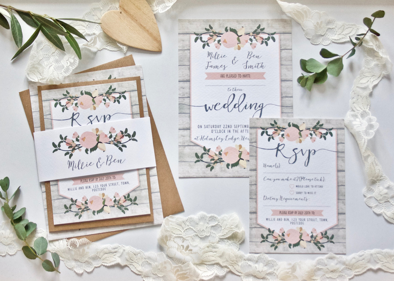 Rustic Wedding Invitation SAMPLE - Floral Wedding Stationery Bundle ...
