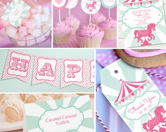 Carousel Party Theme - Instantly Downloadable and Editable File - Personalize and Print at home with Adobe Reader