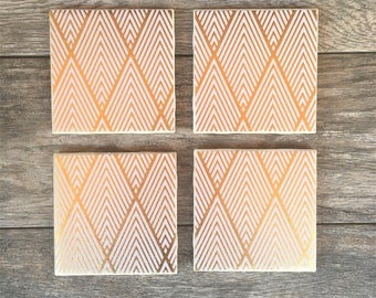 White and Gold Geometric Art Deco Coasters