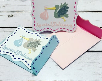 Special delivery new baby shower stork card