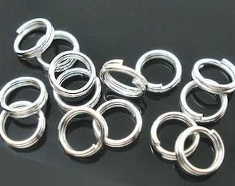 100 Split Rings 6mm High Quality Silver Plated - J021