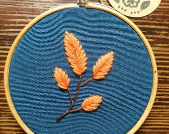 Hand Embroidered Hoop - 4 inch hoop - Leaf on Branch