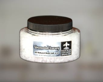 Unscented Luxury All Natural and Handmade Bath Salts 8 oz