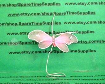 "Nylon Butterfly - 2 1/4"" - pink - 2 pcs - Fibre Craft - #7988PNK"