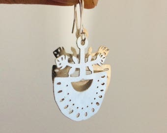 Silver Folk Earrings with glass beads