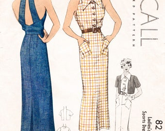 30s 1930s fitted halter dress // cropped jacket //  vintage sewing pattern reproduction 2 styles bust 32 34 36 38 40