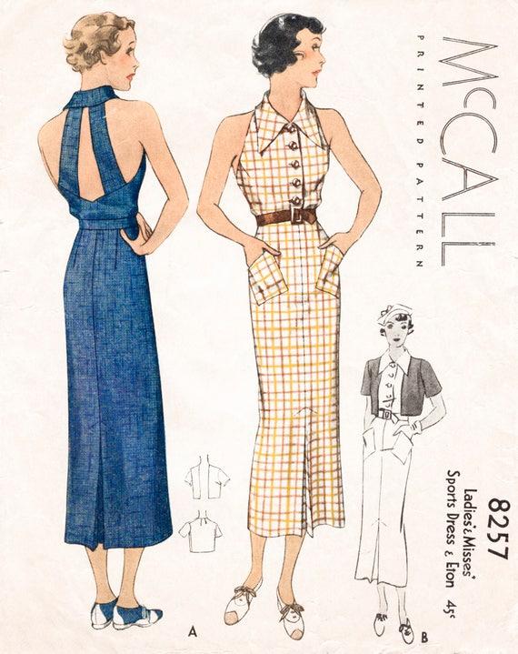 30er Jahre 1930er Jahren ausgestattet Neckholder-Kleid / /