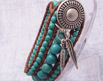 Howlite 3 Row Cuff, Button Cuff,Turquoise Howlite Gemstones, Natural Leather