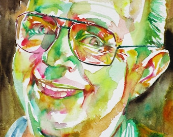 STANISLAW LEM - original watercolor portrait - one of a kind!