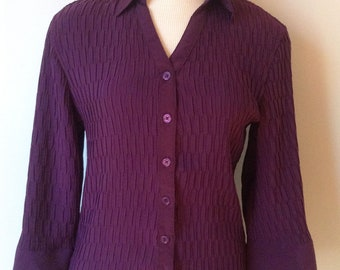 Vintage 1990's Ribbed Purple Blouse for Women – Size 10, Medium