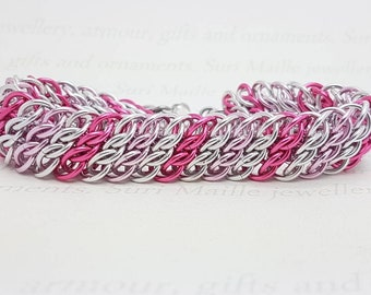 Pink chain maille bracelet in GSG
