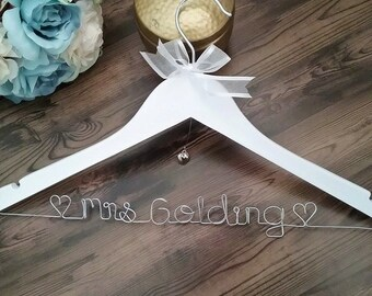 Mrs Coat hanger; wedding Coat hanger, Bride gift, Personalised Coat Hanger, Hanger, Custom Coat Hanger, wedding name hanger, coat hangers