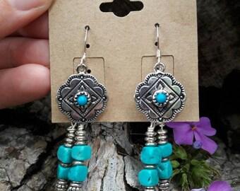 Southwestern Turquoise Dangle Earrings