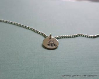 SCARAB  Hand Stamped Charm or Necklace in Sterling Silver Brass or Copper (#1734)