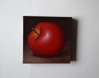 Original 6x6' acrylic small still life painting, red apple painting, kitchen painting, tiny fruit painting, food painting, kitchen art, chef