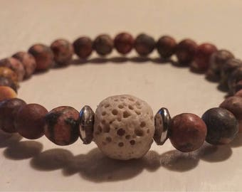 Bracelet with Jasper and lava stones.