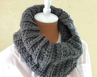 Crochet Cowl Neck - Fall Winter Infinity Scarf - Handmade - Charcoal Gray - Ready to Ship