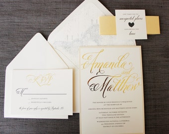 Love Brings You Home Wedding Invitation - Map, Travel Theme - Gold Foil, Neutrals, Elegant