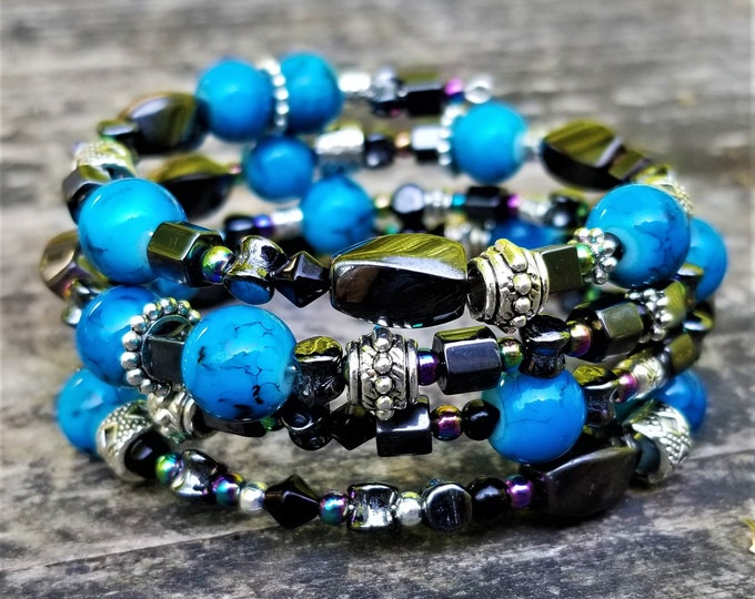 ONE OF A KIND: Steel, Gunmetal & A Pop of Blue Memory Wire Bracelet