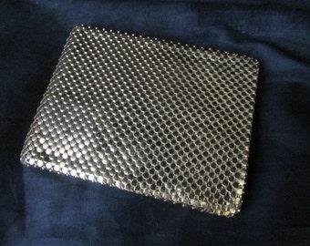 WHITING DAVIS WALLET evening 1960's gold mesh bi-fold D2