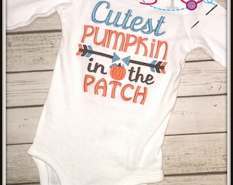 Cutest Pumpkin in the Patch Shirt/Bodysuit--Choose Colors for a Boy or a Girl