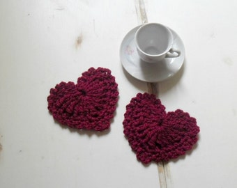 Crochet hearts coasters cherry red Valentine's day