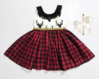 Girls Fall Dress   Woodland   Buffalo Plaid Dress   Bucks   Deer Dress   Holiday Dress   Special Occasion Dress   Collared dress   Gold