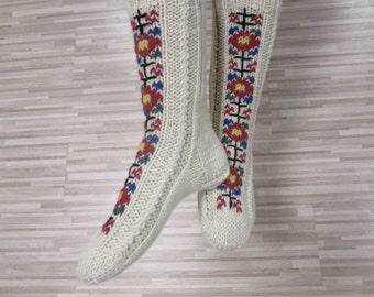 Knitted Wool Socks, Woolen Socks With Embroidery,READY TO SHIP, Natural Wool Socks, Women's Socks, Men's Socks, Christmas Gift