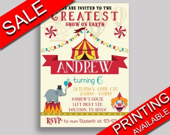 Circus Birthday Invitation Circus Birthday Party Invitation Circus Birthday Party Circus Invitation Boy Girl vintage circus party VU2JL