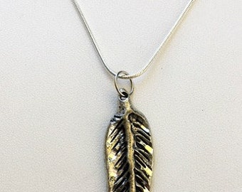 Pewter Feather Pendant with Diamond Cut Detail