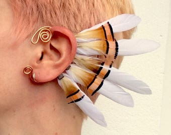 No 6. Feather ear cuff - copper, natural colors
