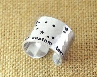 Custom Capricorn ring, Zodiac Constellation Ring, Hammered Capricorn Cuff Rings, Capricorn Jewelry, Alloy Personalized Ring, Birthday Gift