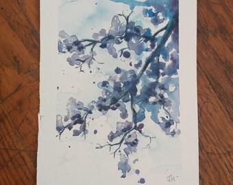Flowering Tree Watercolor Painting