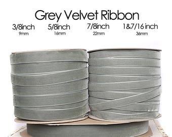 Grey Nylvalour Swiss Velvet Ribbon -3/8inch, 5/8inch, 7/8inch, 1&7/16inch - grey nylon velvet, middle grey velvet ribbon, (433)