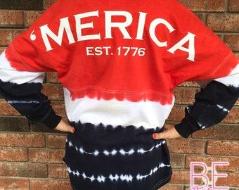 Monogrammed 'Merica Tie Dye Oversized Jersey