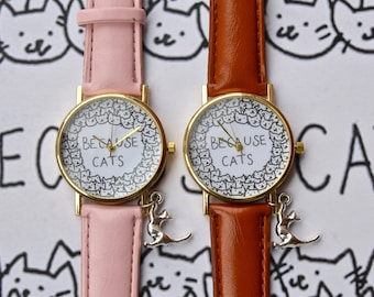 Personalized cat watch with silver cat charm . Cat lover watch,because cats,watch,women watch,sweet watch,cat watch,cat jewelry.