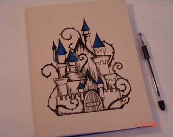 Blue & Black Fairytale Castle Composition Notebook Cover