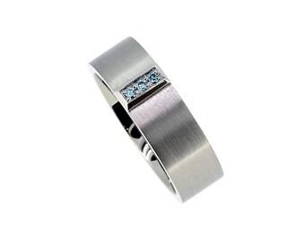 Calanthe Ring with Blue diamonds, wedding band men, palladium, platinum, white gold, men diamond ring, blue wedding, commitment, light blue