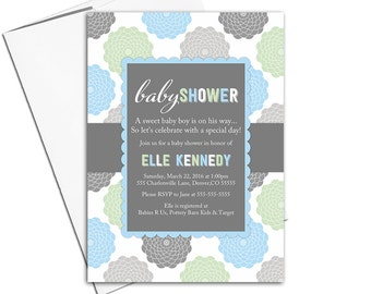 Printable baby shower invitations for baby boy | blue gray green | unique baby shower invites | baby boy shower invites - WLP00776