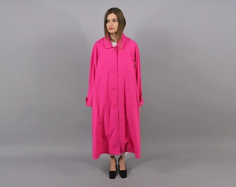 Maxi Trench Coat / Woven Trench Coat / 80s Hot Pink Trench Coat / Trapeze Coat / Cotton Trench Coat Δ fits sizes: S/M/L