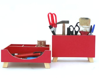 Desk Organizer Red, Wood Desk set, Office Accessories, Red Desktop Organizer, Wooden Office Tidy Desk, School Desk Storage, gift for Mother