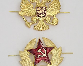 Russian Soviet Hat Pin Badges *USSR Red Army Star & Double-headed eagle* set of 2