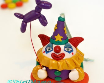 Happy Clown w Balloon Animal Ornament OOAK Decoration