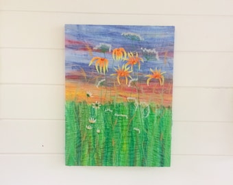 Wildflowers Fabric wall hanging 17x13 inches Ready to hang