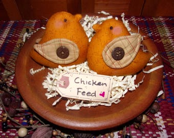 Primitive Whimsical Country Spring Barnyard Golden CHICKS Tucks Bowl Fillers Ornaments Ornies (PYC-010)