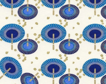 Chiyogami or yuzen paper - rainy day umbrellas - peacock blue and navy with gold, 9x12 inches