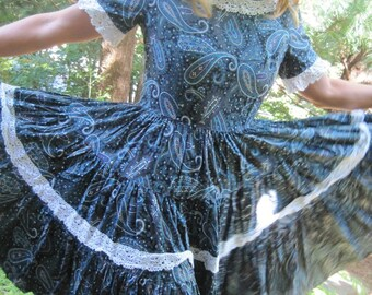 Vintage Square Dance Dress Blue Paisley Rockabilly